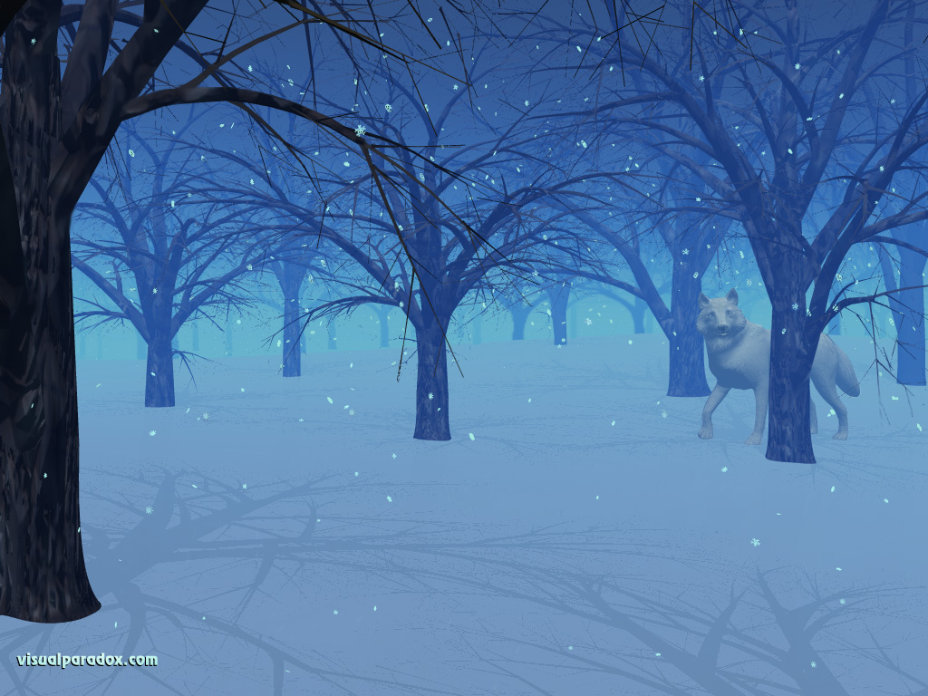 wolf, snow, flakes, trees, woods, forest, winter, wolves, animal, animals, 3d, wallpaper