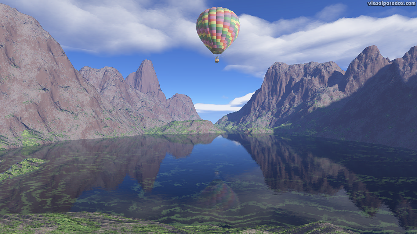 Balloon, mountains, ballooning, hot air balloon, ride, baloon, clouds, lake, reflection, sky, 3d, wallpaper