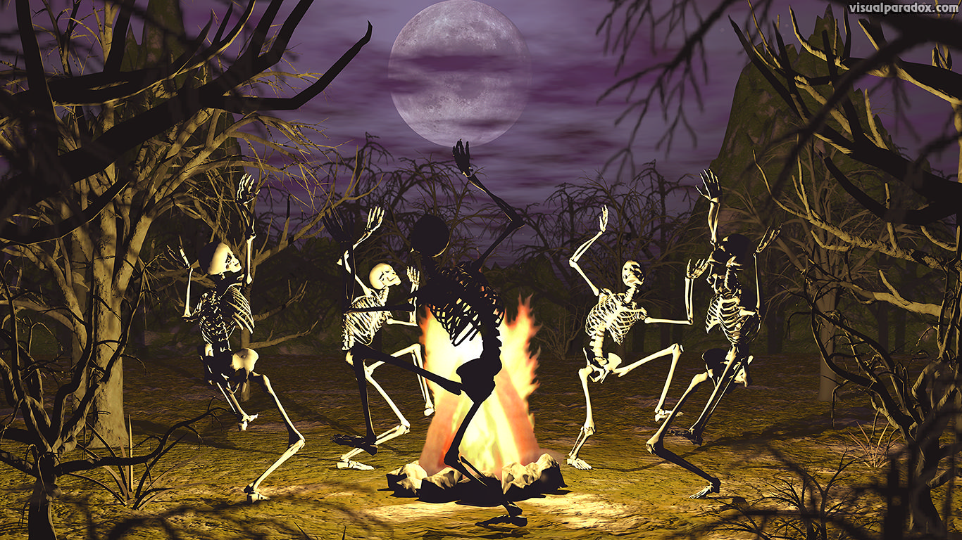 dancing, skeletons, campfire, coven, gothic, undead, conjuring, bones, full moon, trees, scary, haunted, halloween, skeleton, 3d, wallpaper