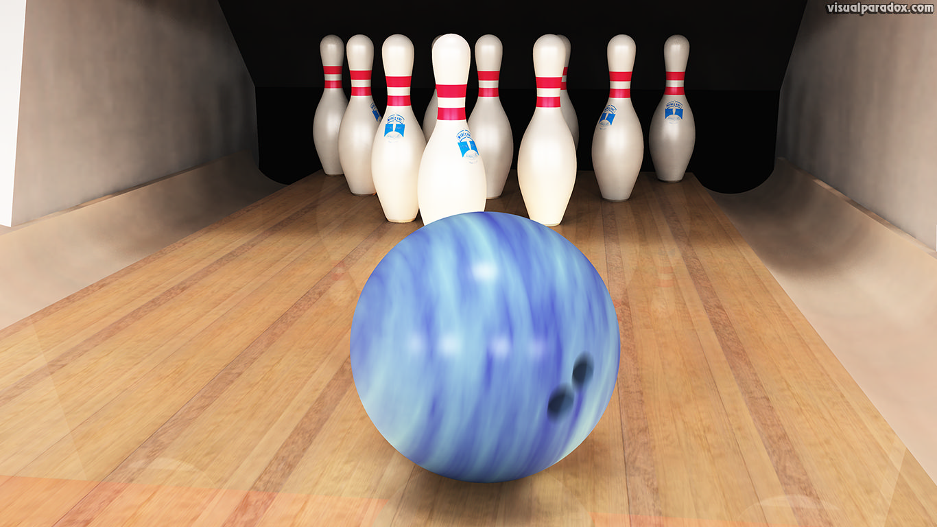 bowling ball pins lane alley game sport strike spare bowl ten pin, 3d, wallpaper