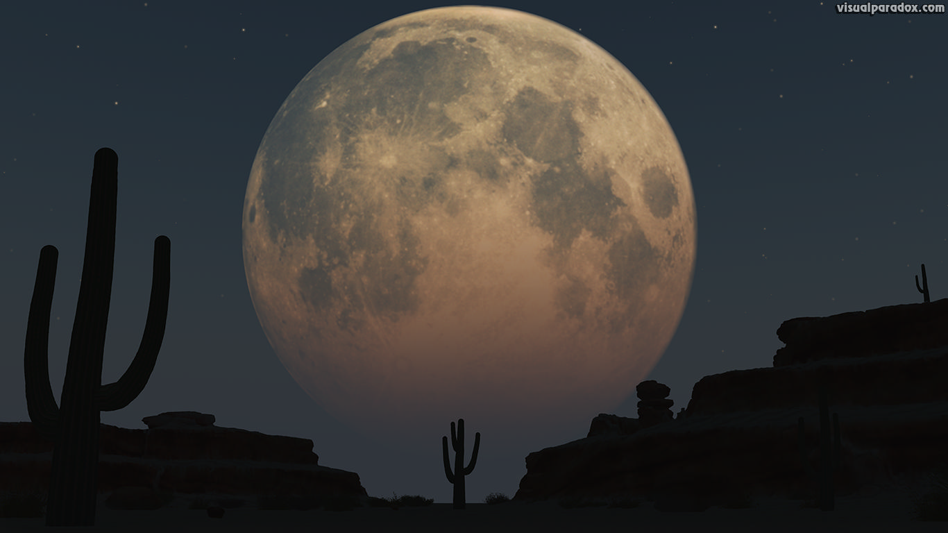 lunar, moon, planet, desert, sand, cactus, night, full moon, 3d, wallpaper
