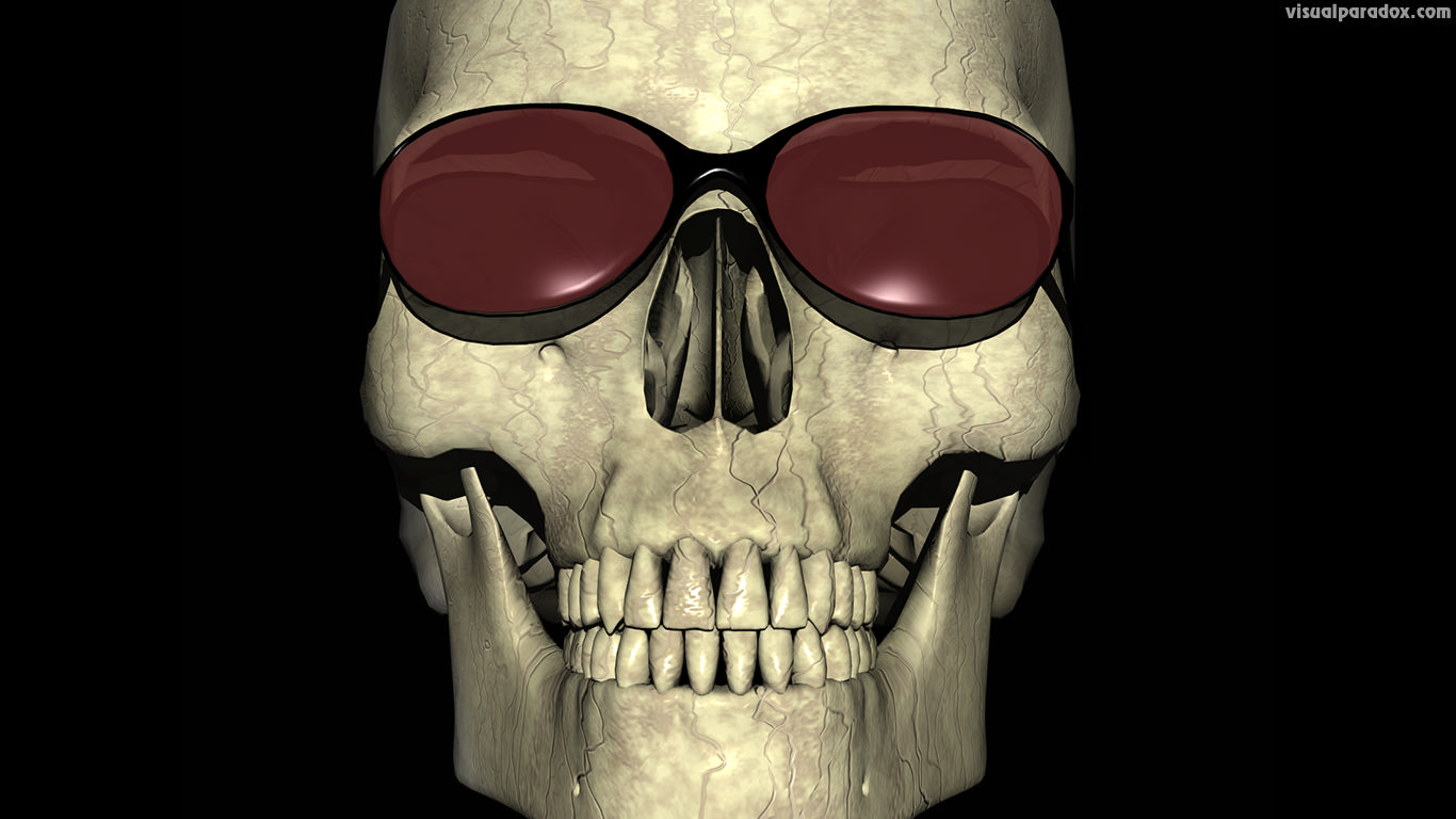 skull, sunglasses, bone, smile, skeleton, teeth, cool, smiley, glasses, evil, death, grim, 3d, wallpaper