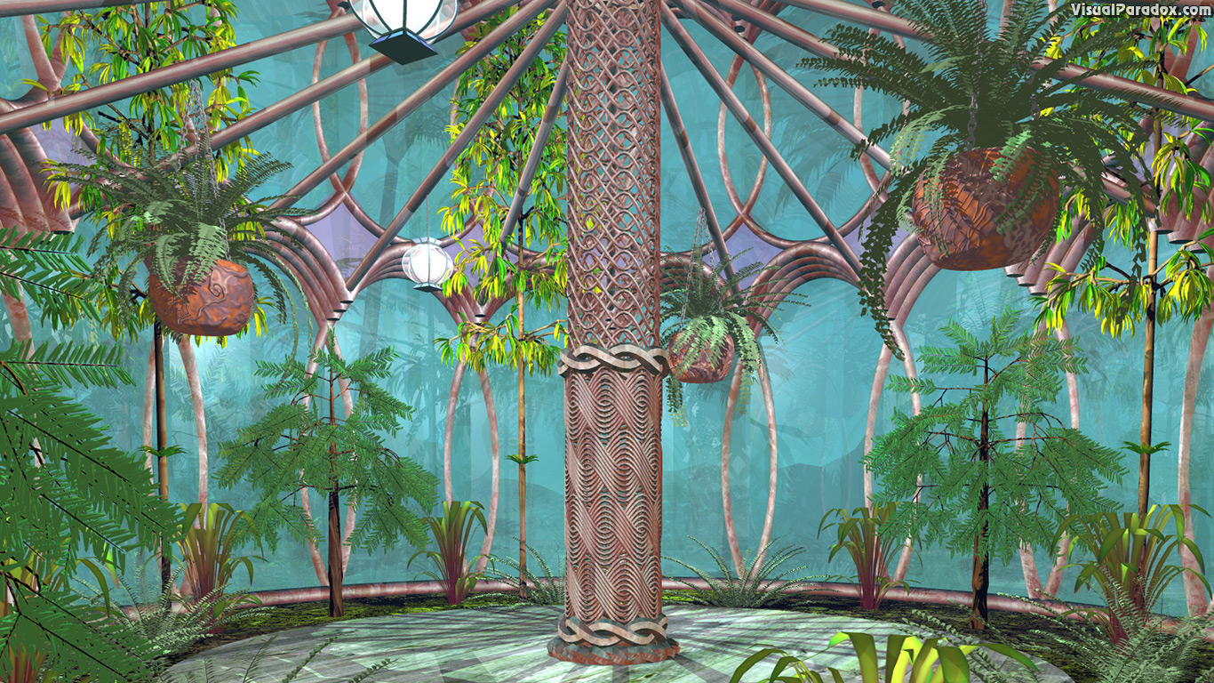 hothouse, plants, nature, glass, trees, column, house, interior, jungle, 3d, wallpaper