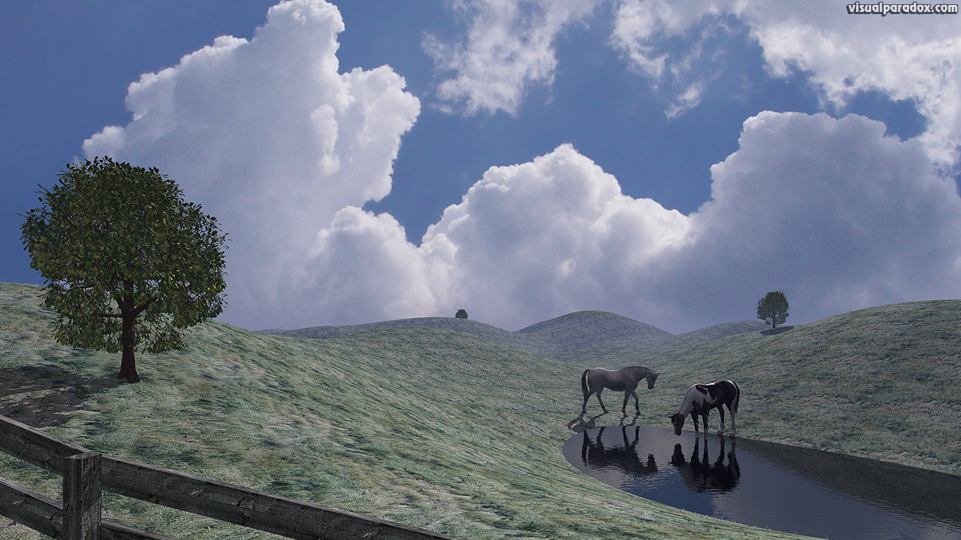 prairie, field, horses, water, hole, drink, fence, clouds, 3d, wallpaper