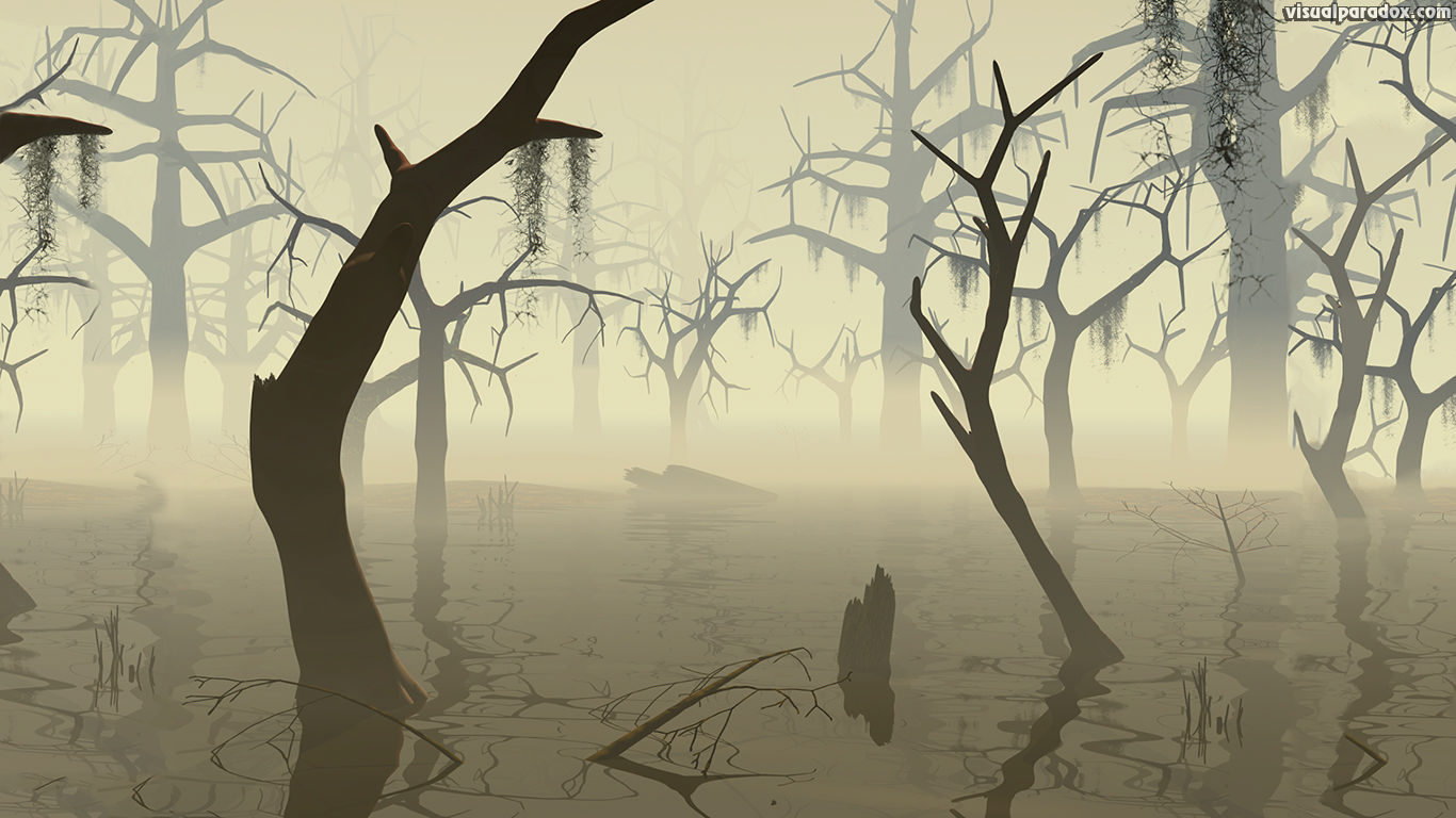marsh, wetland, watershed, flood, quagmire,everglades, trees, forest, bottoms, dead, decay, forboding, scary, creepy, 3d, wallpaper