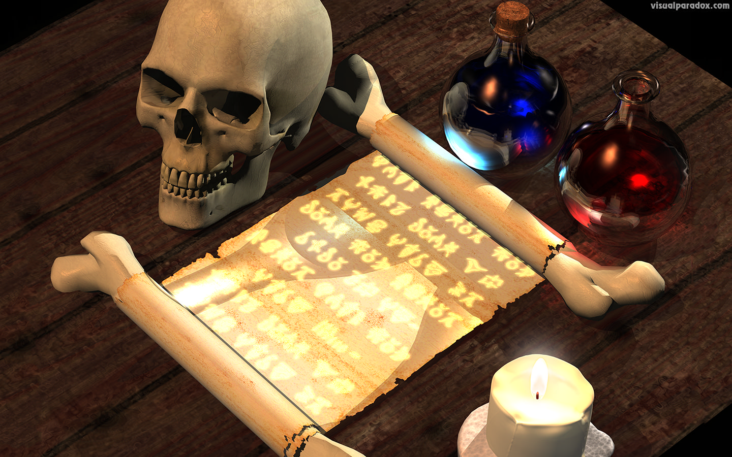 magic, spell, scroll, text, writing, tale, fantasy, skull, potion, spells, potions, alchemist, alchemy, 3d, wallpaper