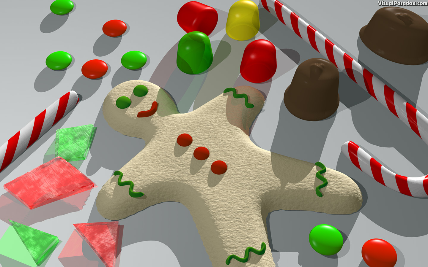 gingerbread, candy cane, gumdrops, cookies, hard, glass, chocolate, holiday, christmas, 3d, wallpaper