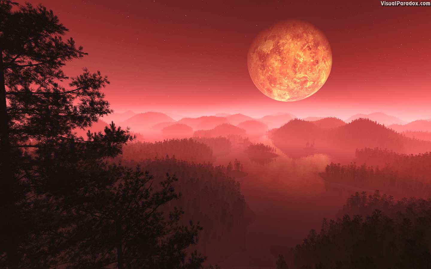 atmosphere, branches, dark, dusk, fantasy, fiery, fire-mist, fog, foot, glowing, hills, landscape, mist, moon, nature, night, orbit, planet, red, silhouette, sky, tree, twilight, venus, 3d, wallpaper