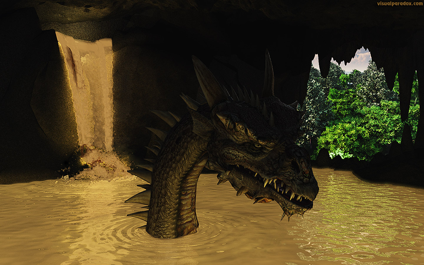 dragon, cave, den, lake, glowing, wyrm, water, toxic, monster, 3d, wallpaper