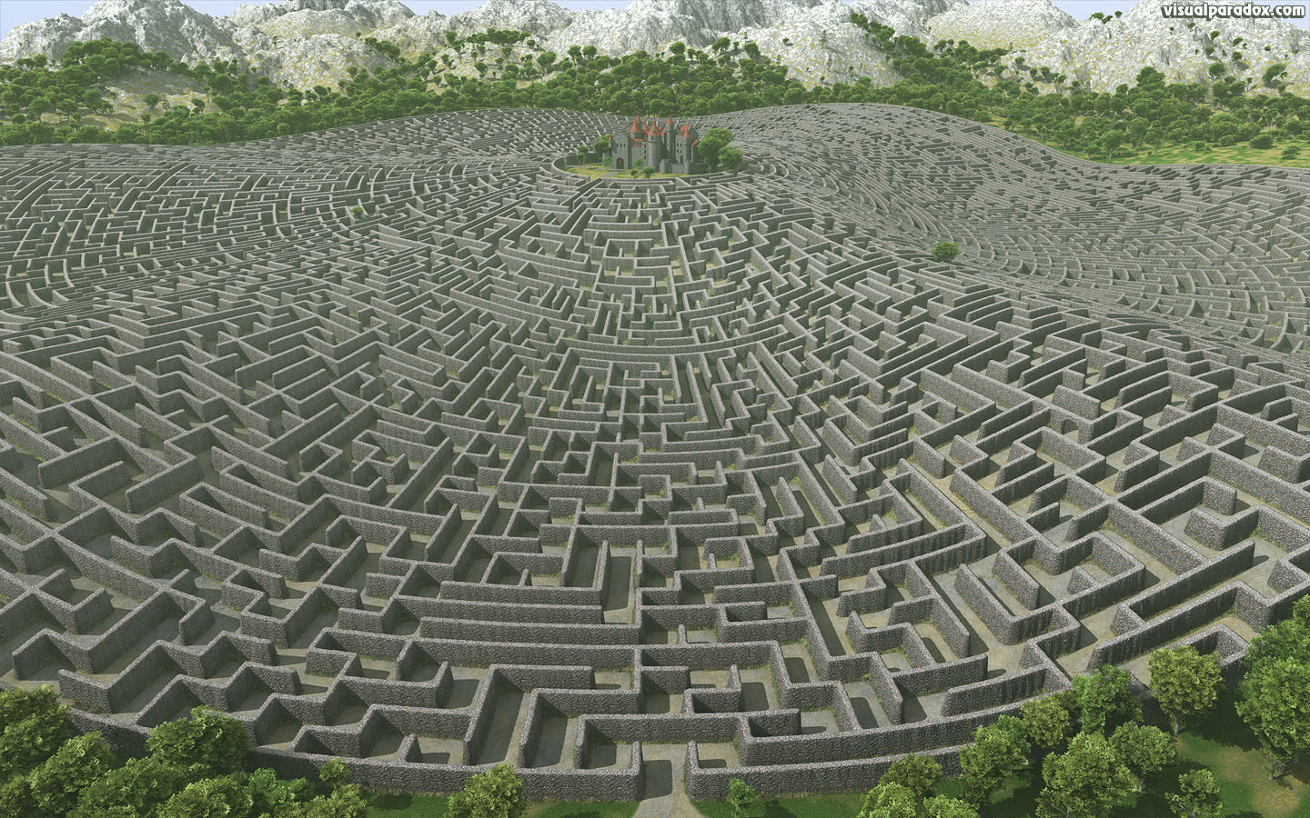 castle, walls, maze, labyrinth, fortress, manor, estate, fantasy, lost, defense, defend, protected, 3d, wallpaper