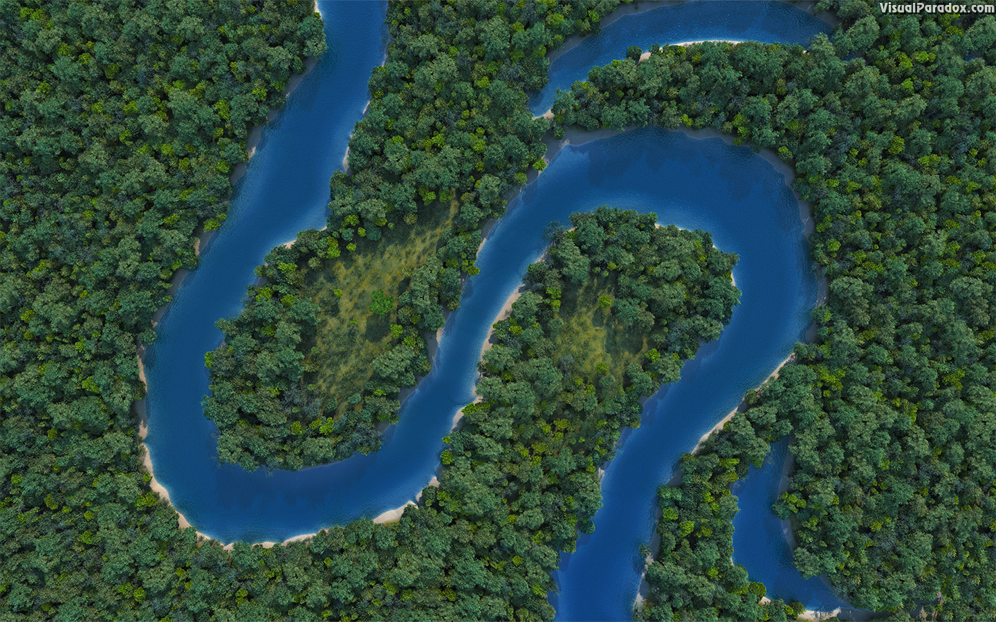 meandering, snaking, curvy, sinusoidal, snake, forest, woods, trees, erosion, oxbow, lake, pond, channel, river, stream, creek, bed, 3d, wallpaper