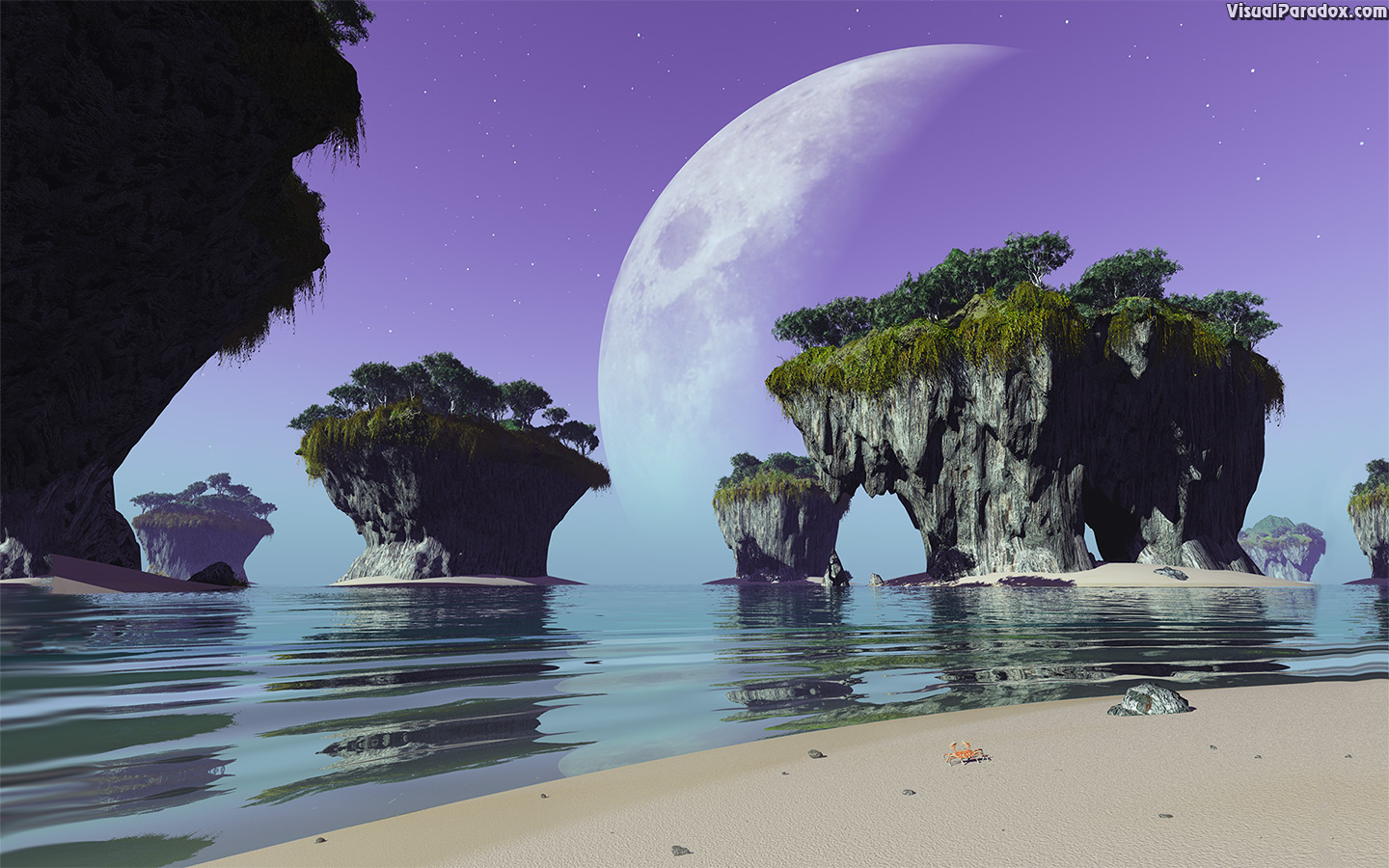 crab, alien, moon, ocean, sea, waves, erosion, planet, mountain, rocks, cliffs, overhang, sky, 3d, wallpaper