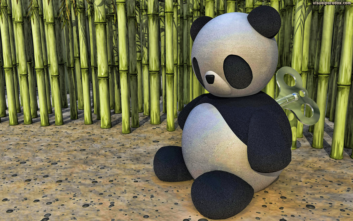 panda, clockwork, wind-up, key, china, winding, toy, doll, bamboo, cane, bear, wound, down, 3d, wallpaper