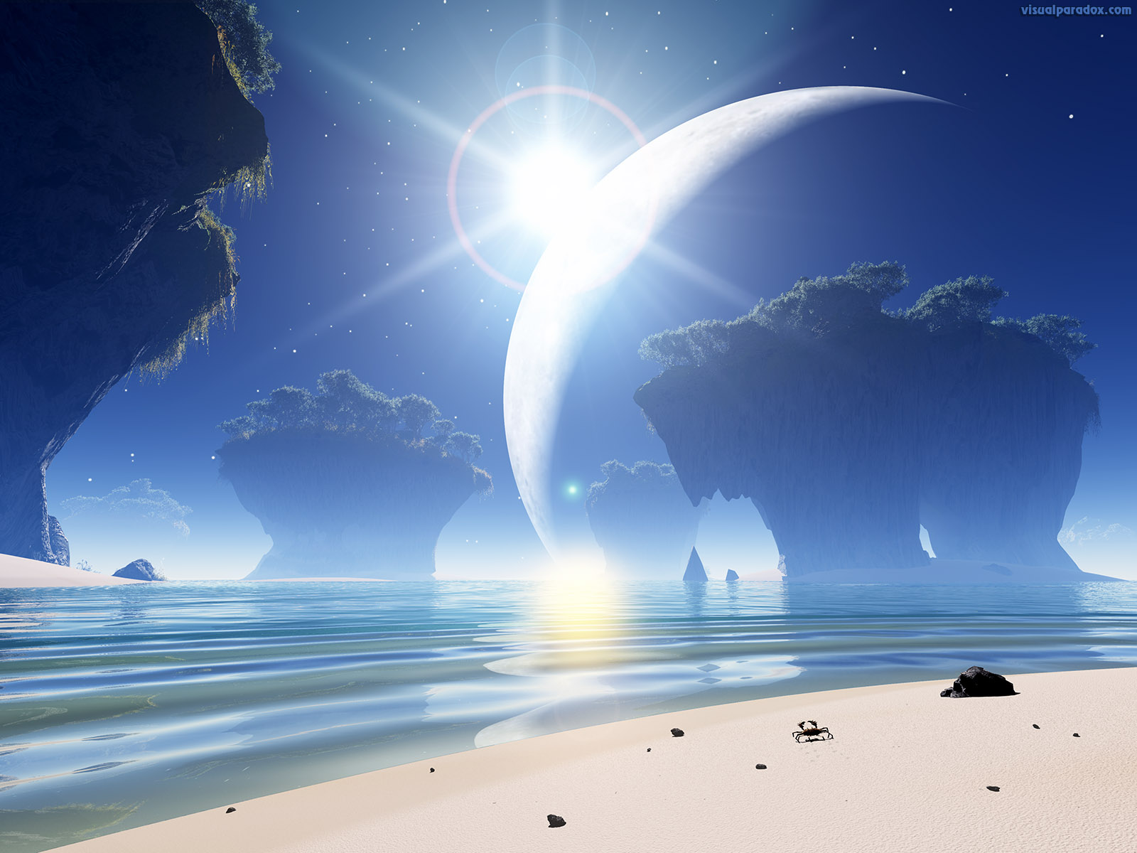 crab, alien, moon, ocean, sea, waves, erosion, star, shine, lens flare, 3d, wallpaper