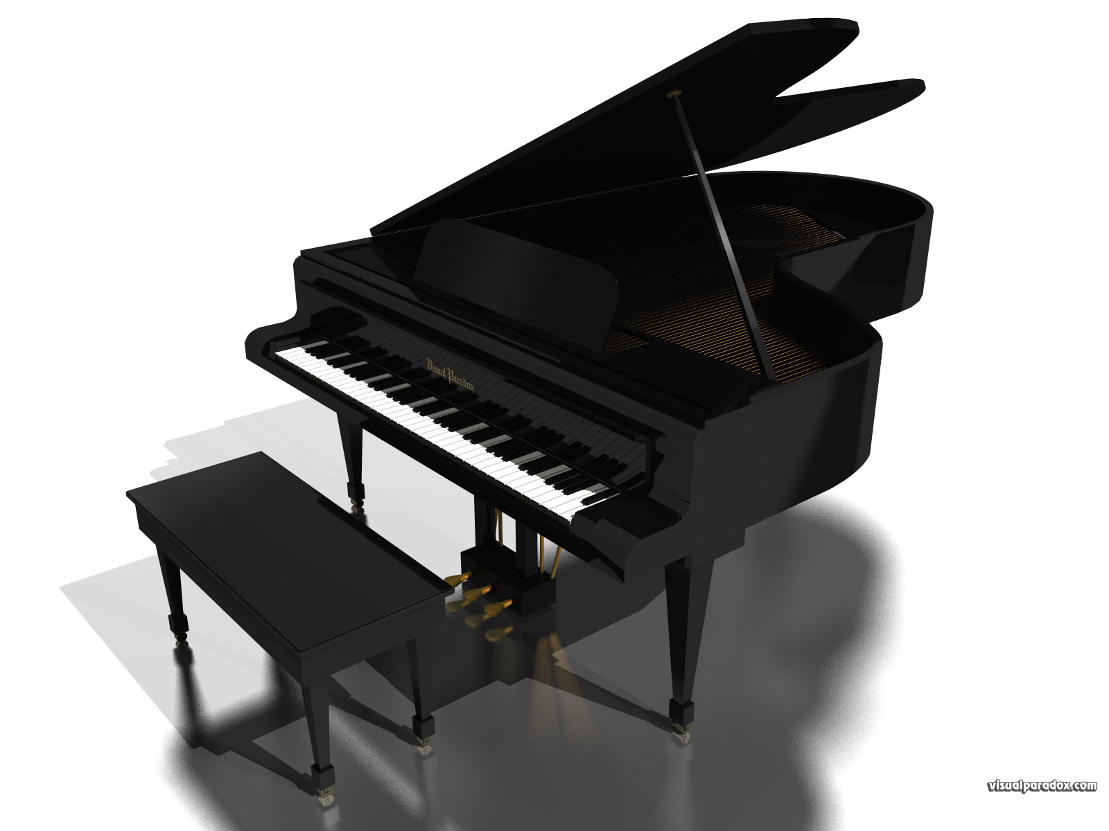 Visual paradox free 3d wallpaper 39 grand piano 39 1600x1200 for What size is a grand piano
