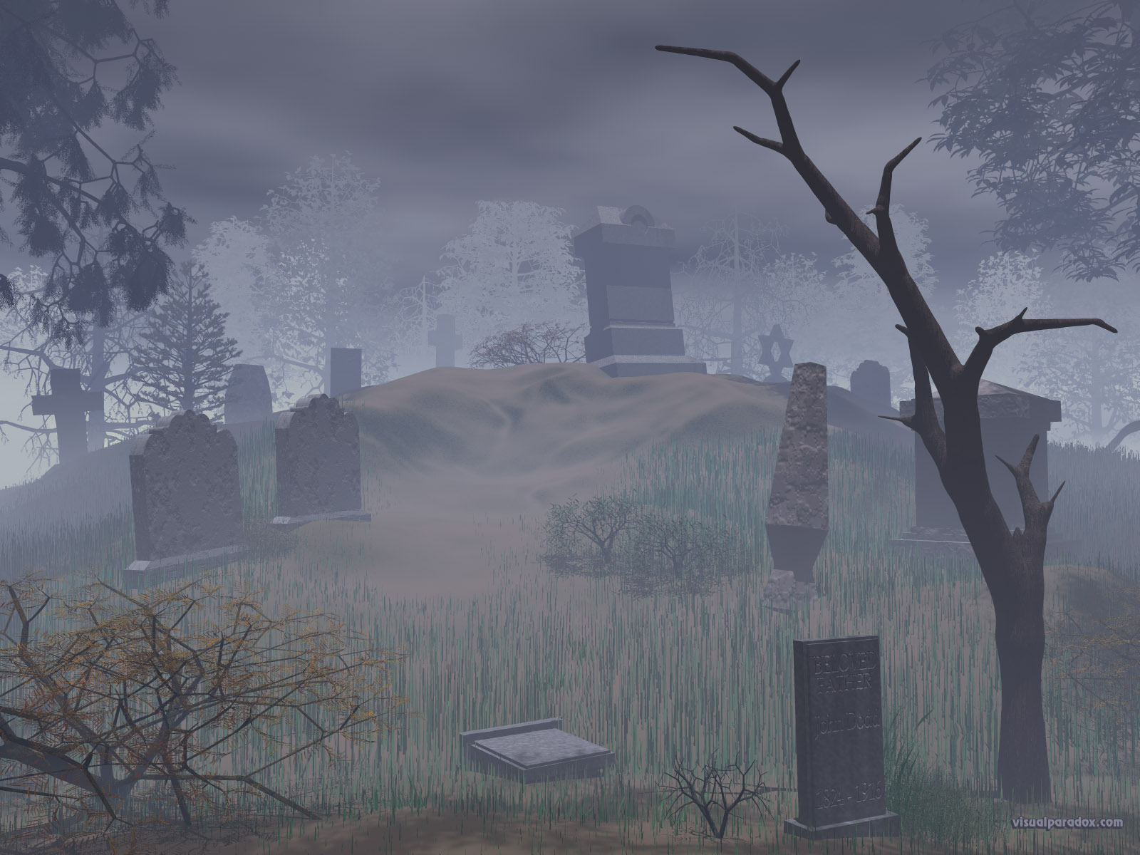 cemetery, graves, tombstone, trees, spooky, creepy, scary, halloween, plot, haunted, tombs, marker, grave, dead, 3d, wallpaper