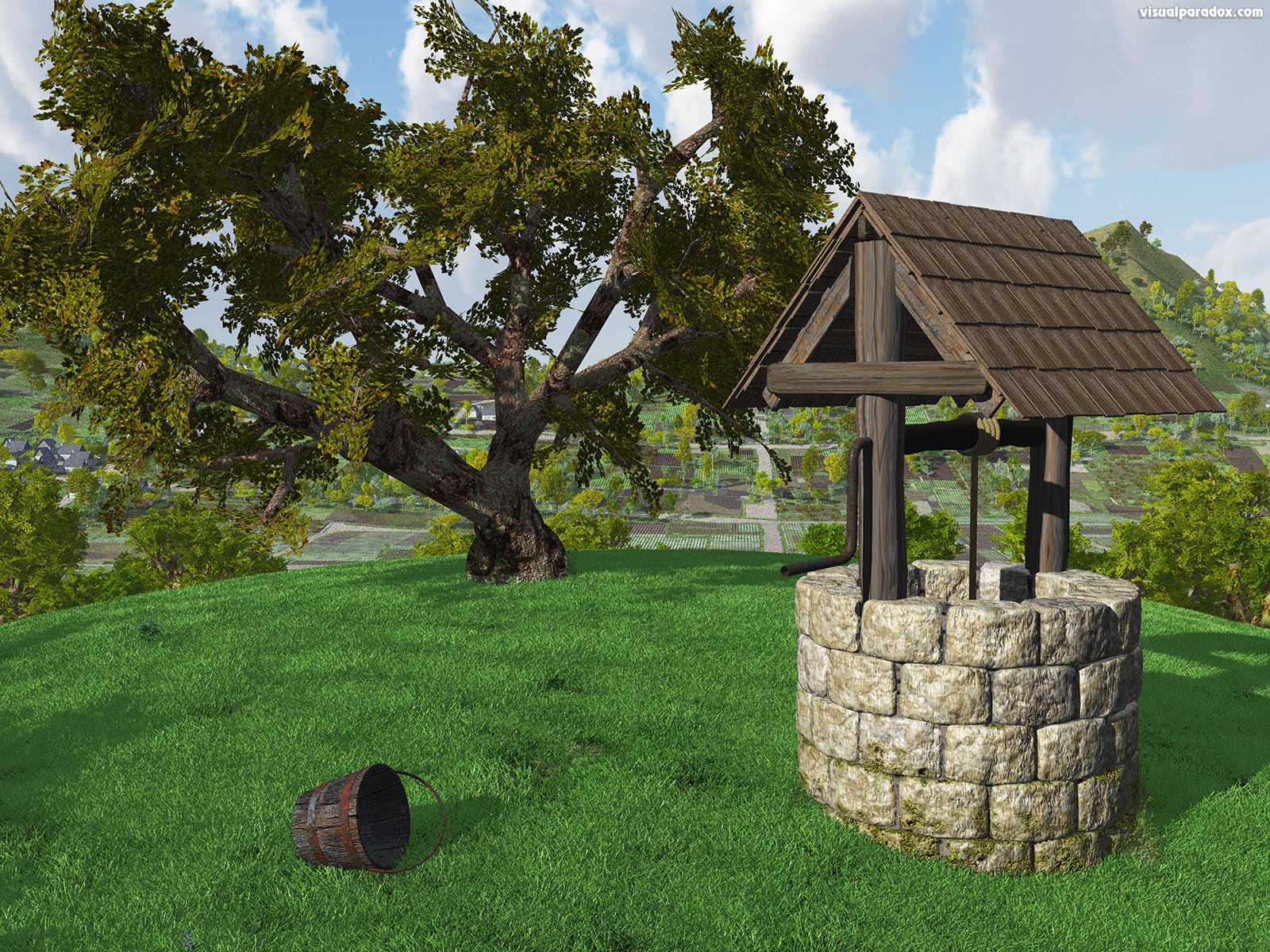 water, well, hole, village, source, bucket, jack and jlll, gnarled tree, grass, hill, idyllic, crank, sunny, day, 3d, wallpaper