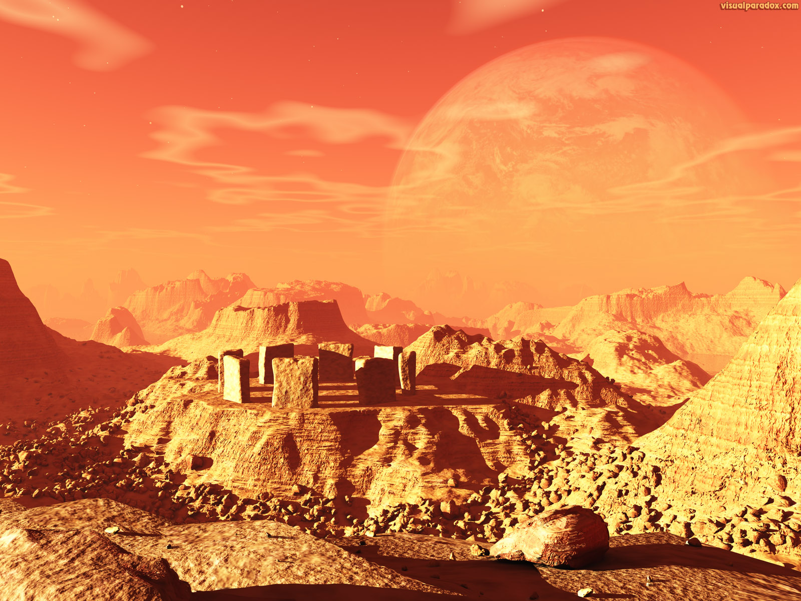 planet, space, stone, henge, monolith, alien, sky, mars, mercury, science fiction, 3d, wallpaper