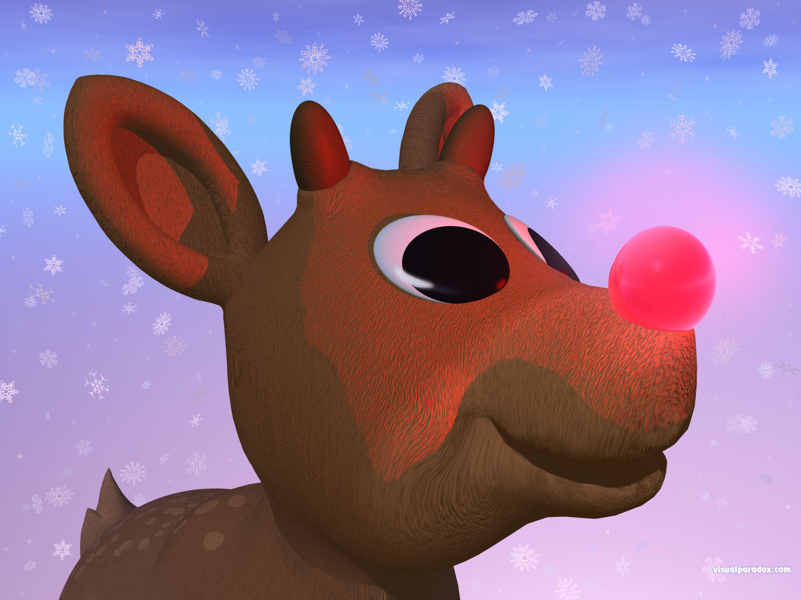 red, nosed, reindeer, christmas, xmas, snow, flakes, rudolf, holiday, nose, 3d, wallpaper