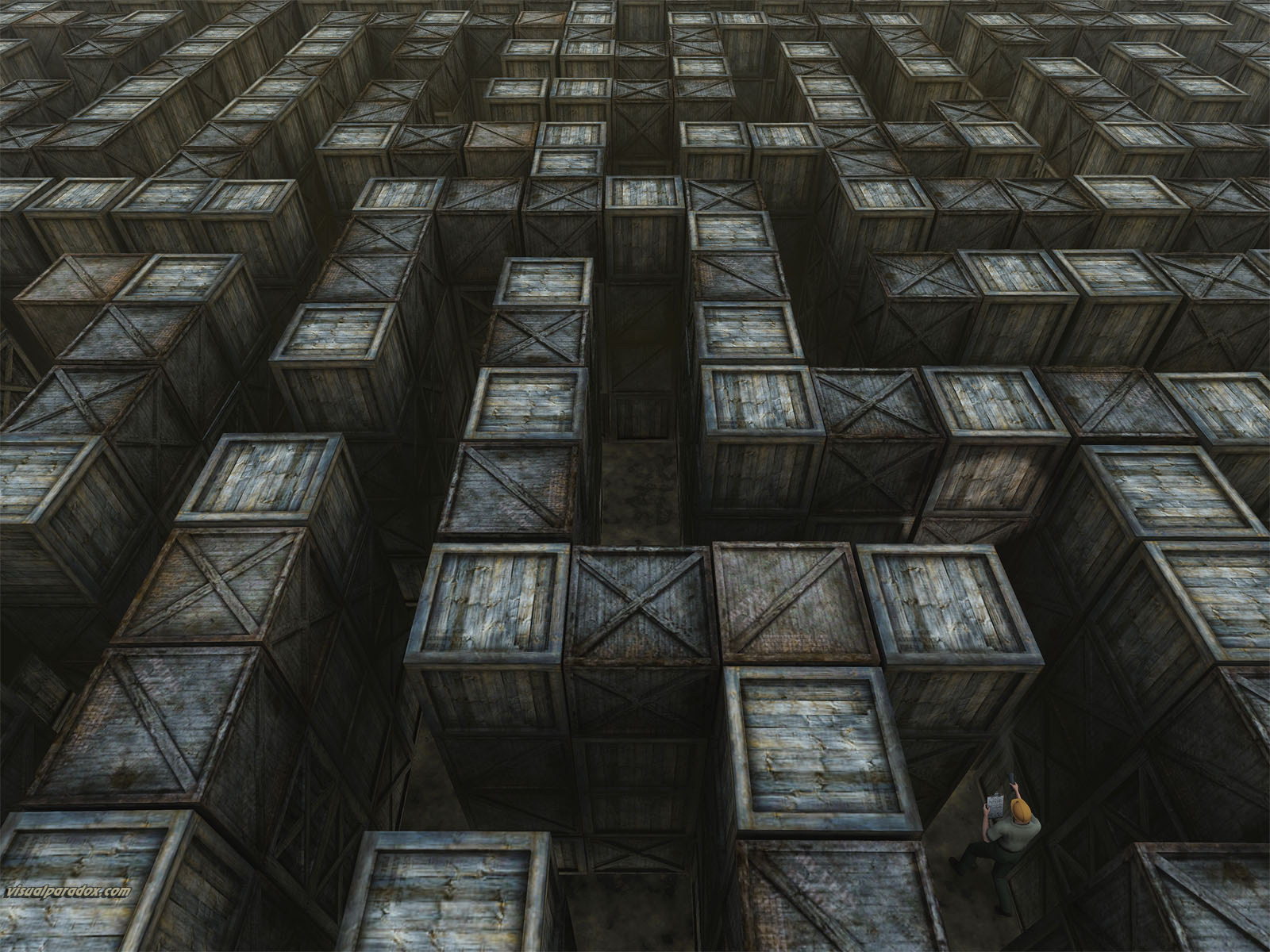 warehouse, maze, labyrinth, storage, search, lost, find, boxes, crates, clipboard, 3d, wallpaper
