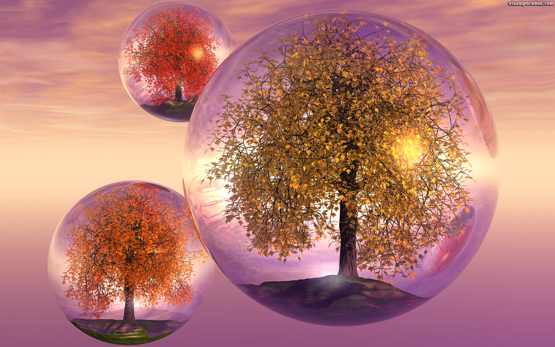 crystals, trees, autumn, fall, float, bubbles, balls, fly, terrarium, colorful, spheres, globes, crystal, sphere, balls, 3d, wallpaper