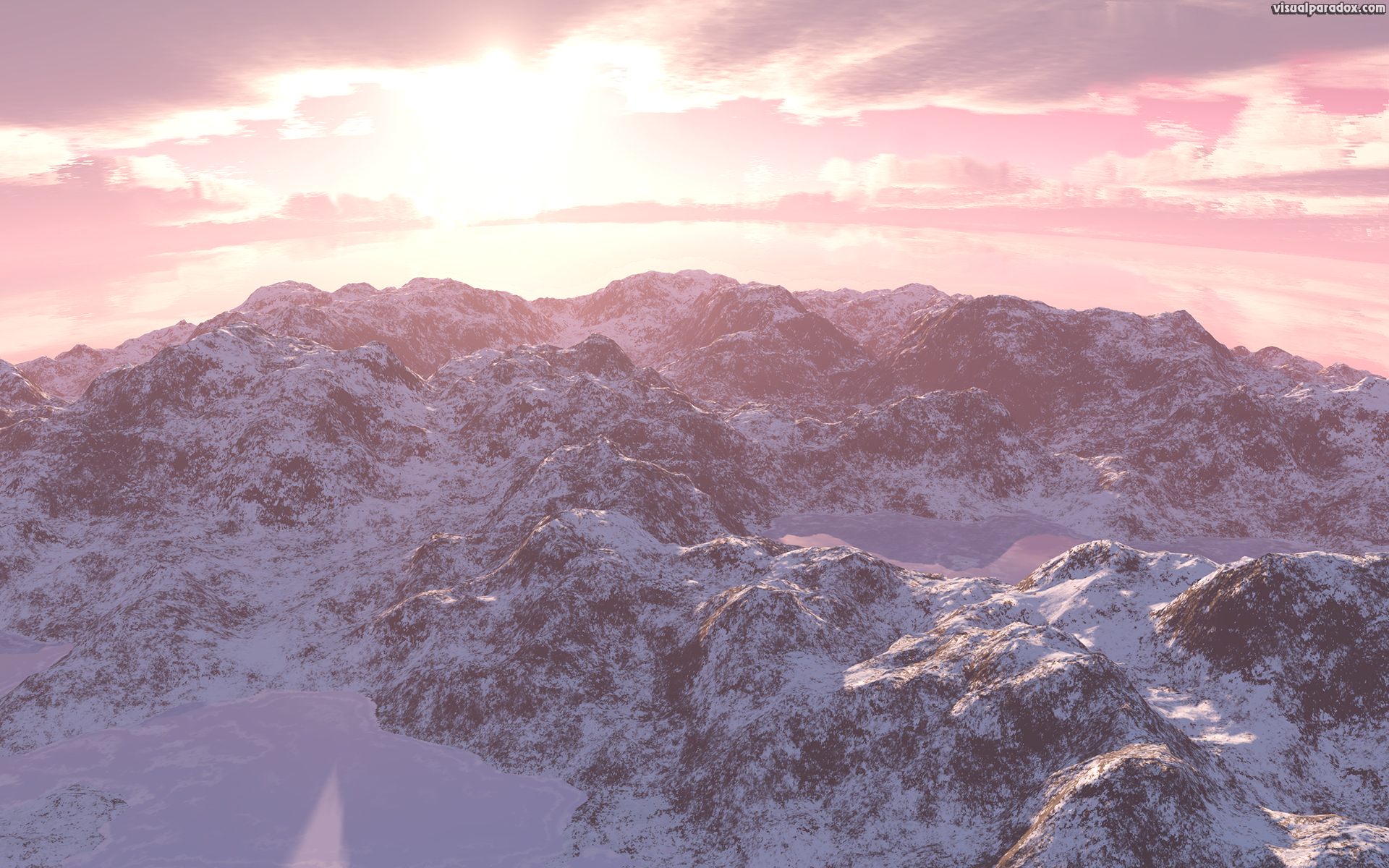 mountain, snow, frozen, lake, cold, crisp, frigid, clouds, mountains, lakes, 3d, wallpaper