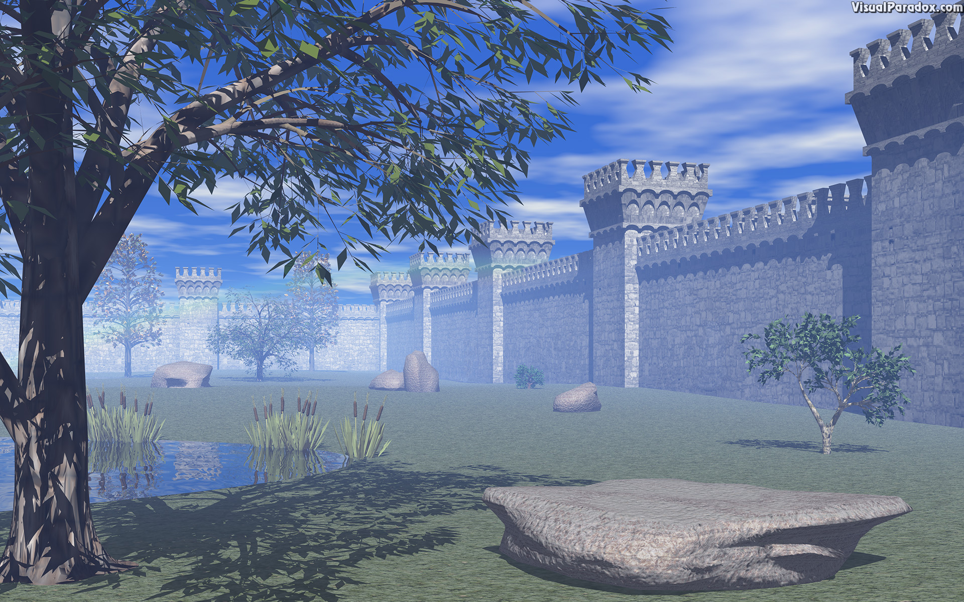 architecture, barrier, blue, building, castle, clouds, court, courtyard, exterior, fortifications, fortress, garden, green, grey, keep, landmark, landscape, medieval, old, park, sky, spring, stone, stones, summer, towers, tree, walls, yard, 3d, wallpaper