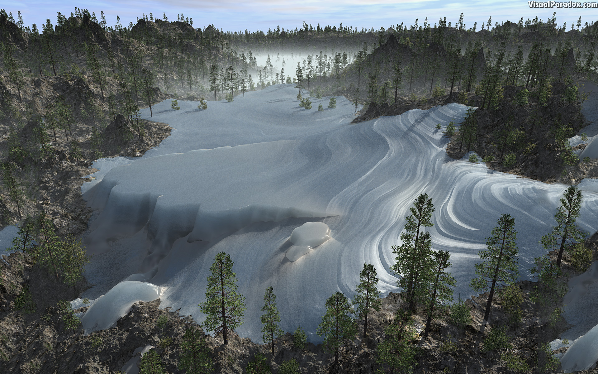 ice, pack, snow, glacier, tundra, permafrost, cold, arctic, 3d, wallpaper