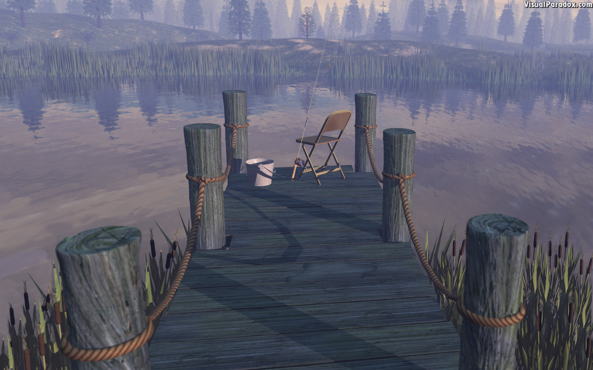 working, fishin, pier, dock, pole, rod, lake, forest, fish, pond, fishing, hole, bass, catfish, stream, river, workin?, 3d, wallpaper