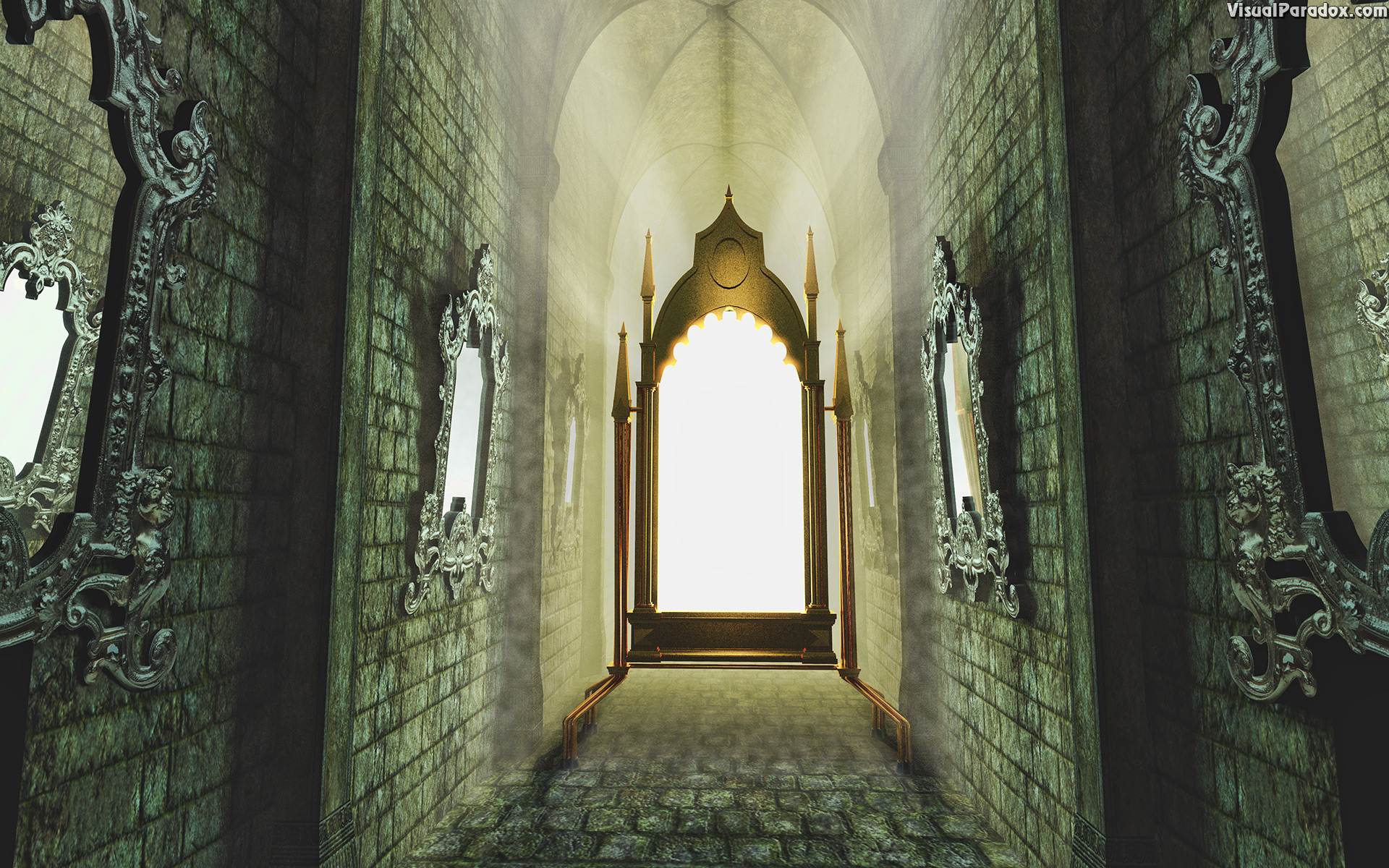 ancient, architecture, background, black, building, corridor, dark, empty, entrance, evil, floor, frame, furniture, glass, gothic, grunge, hall, hallway, inside, interior, light, magic, mirror, old, ornate, perspective, reflection, room, scry, spooky, stone, style, superstition, vestibule, wall, white, witch, 3d, wallpaper