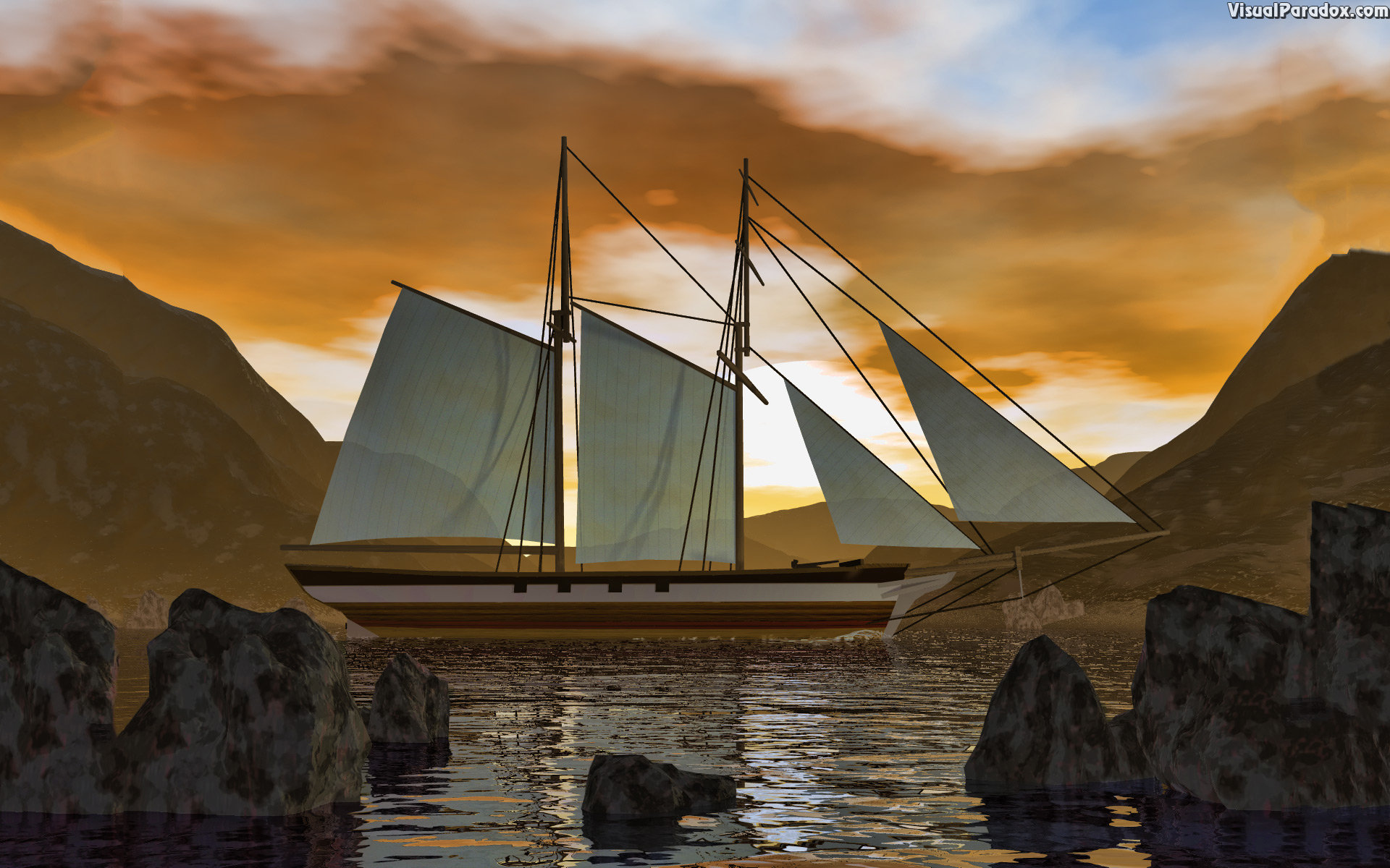 ship, boat, sail, ocean, sea, water, waves, sunset, ripples, sailing, sailboat, sails, 3d, wallpaper