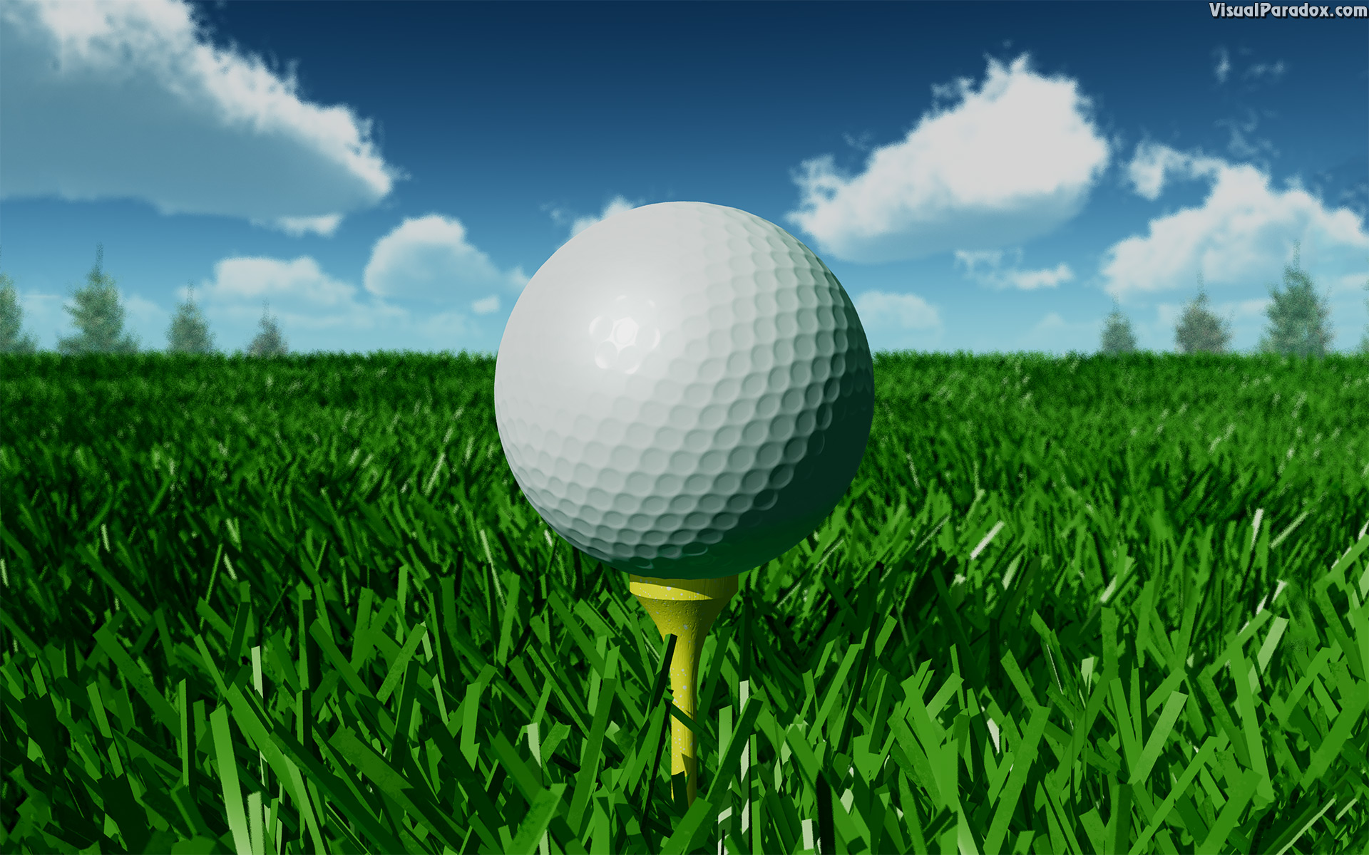 golf, golfball, tee, off, fairway, grass, day, closeup, ball, 3d, wallpaper