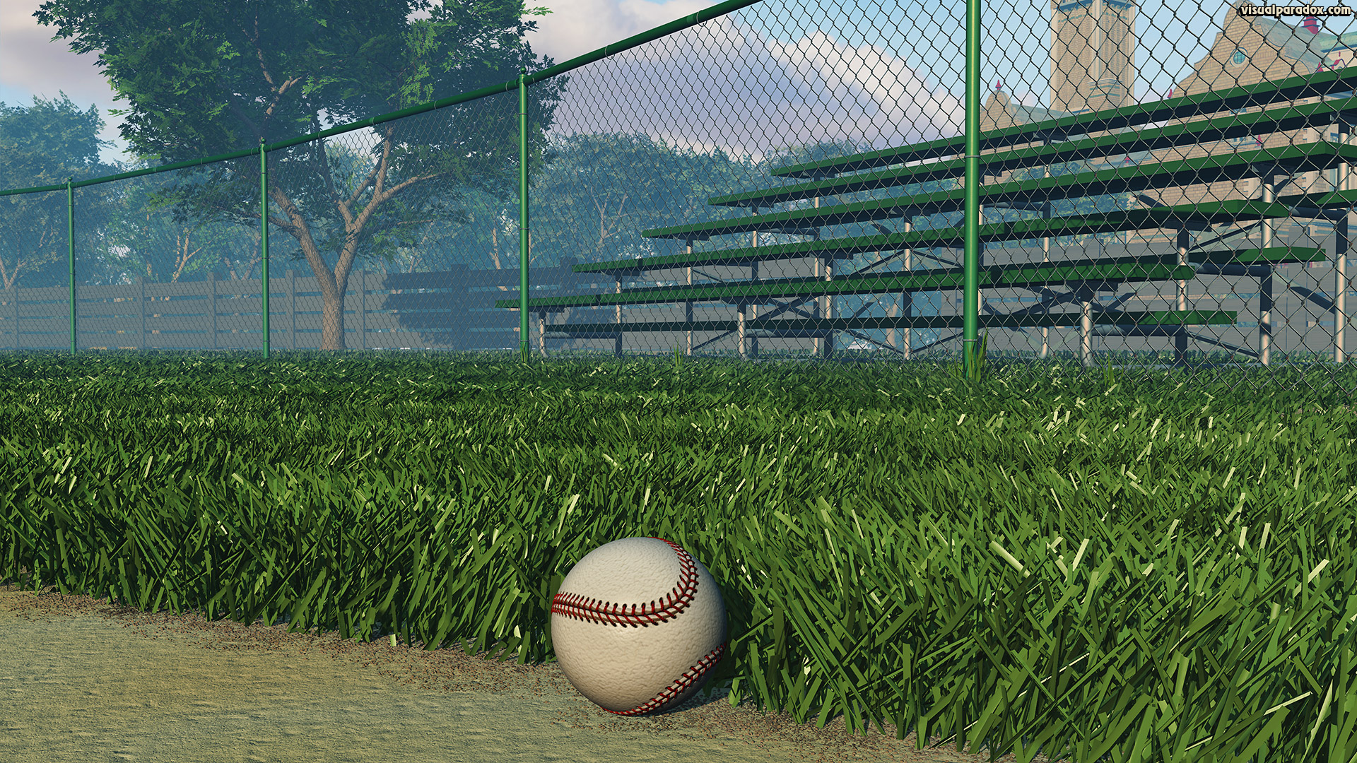 athletics, ball, base, baseball, bleachers, chain, chain-link, chainlink, clouds, diamond, dirt, empty, exercise, fence, field, first, foul, game, green, hardball, health, healthy, hit, infield, park, play, recreation, sandlot, seasonal, sky, sport, sports, stands, summer, sunny, tan, team, trees, white, woods, 3d, wallpaper
