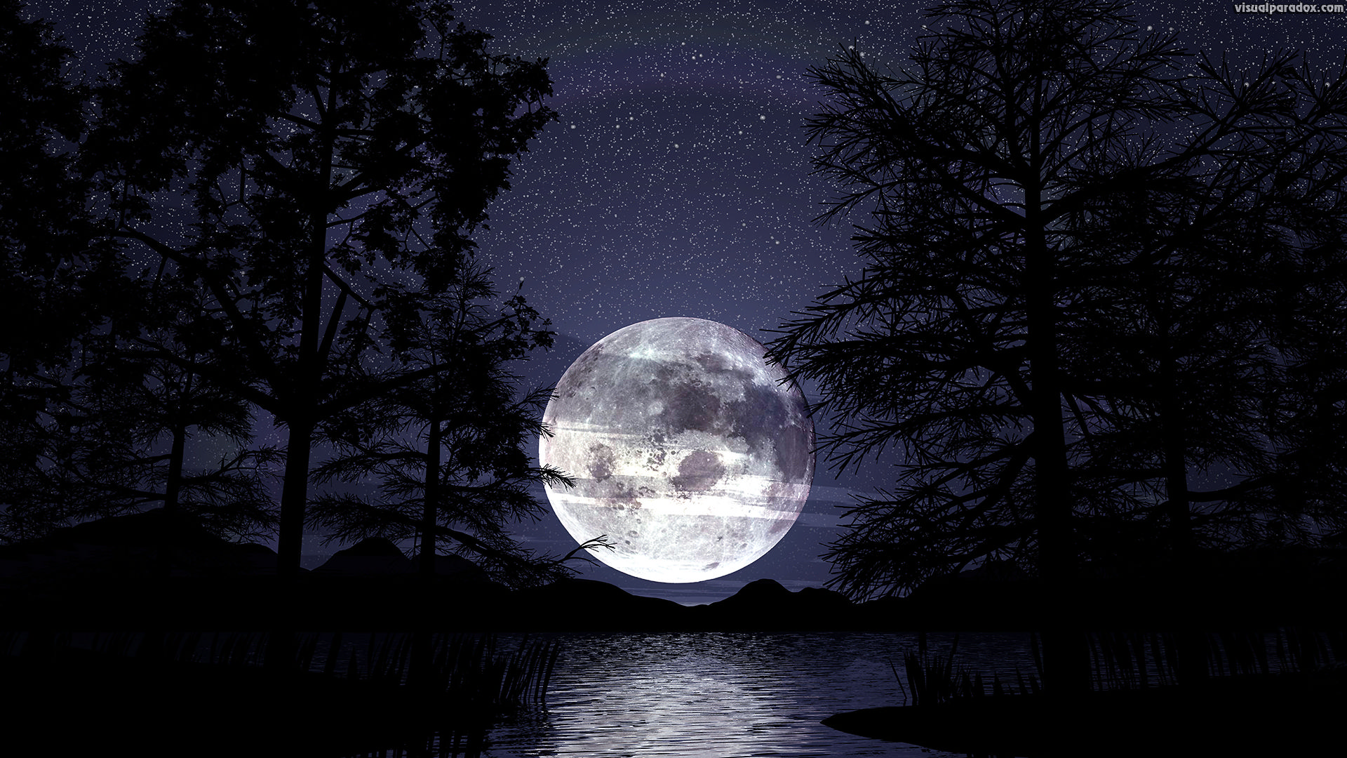 lunar, trees, lake, water, reeds, silhouette, stars, romantic, peaceful, tranquil, reflections, full, 3d, wallpaper