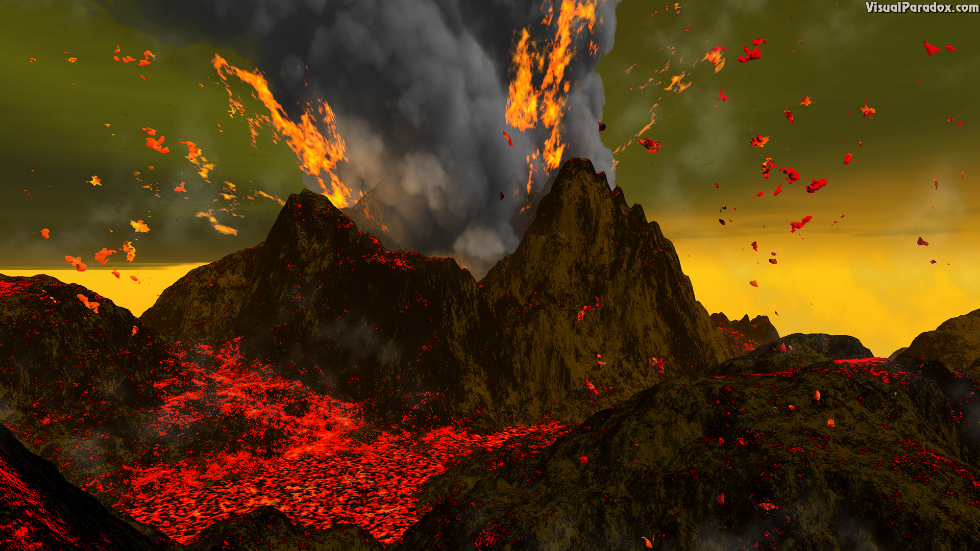 eruption, explosion, hell, lava, red, volcanic, volcano, mountain, magma, ash, smoke, fire, active, volcanoes, erupt, volcanology, 3d, wallpaper