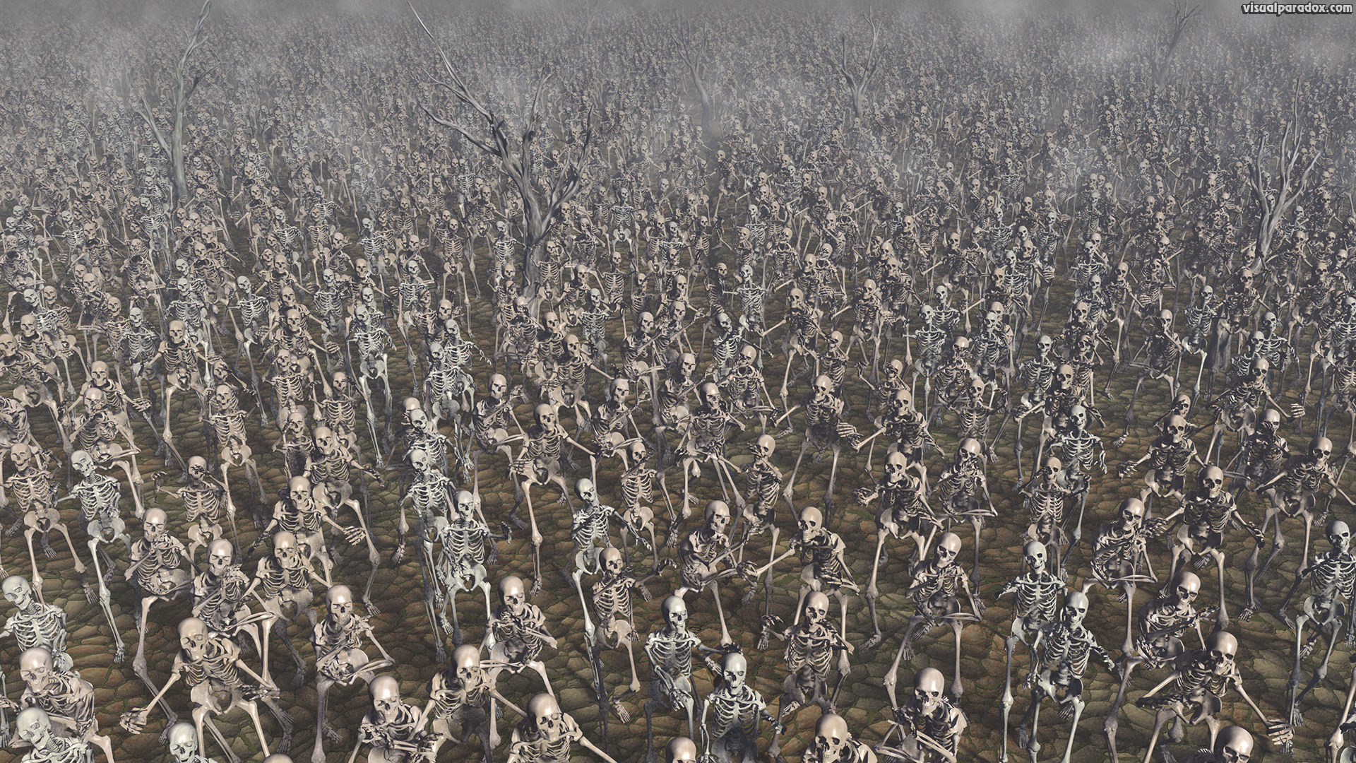 Skeletons, march, zombie, bones, skull, army, marching, crowd, chase, zombies, skeleton, attack, 3d, wallpaper