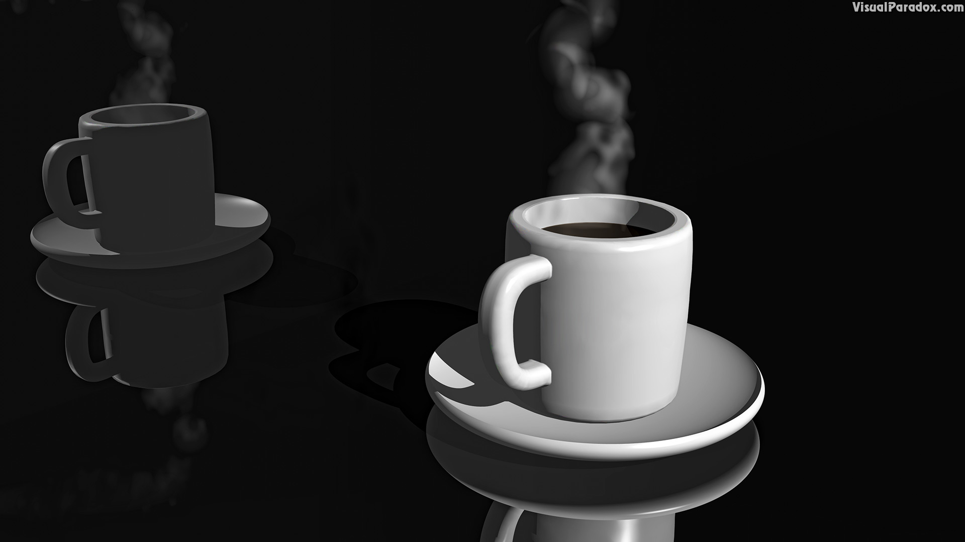 coffee, cup, steaming, reflection, black, tea, hot, 3d, wallpaper