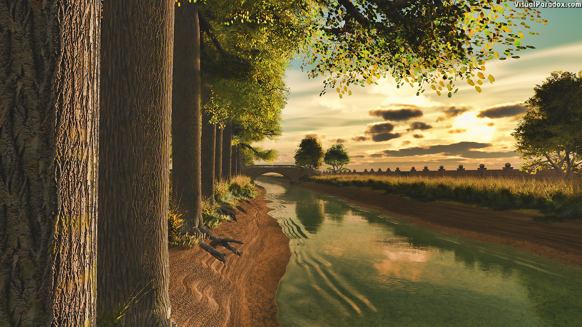 canal, stream, river, channel, creek, waterway, trees, tree-lined, cottonwood, sunset, sunrise, wall , 3d, wallpaper