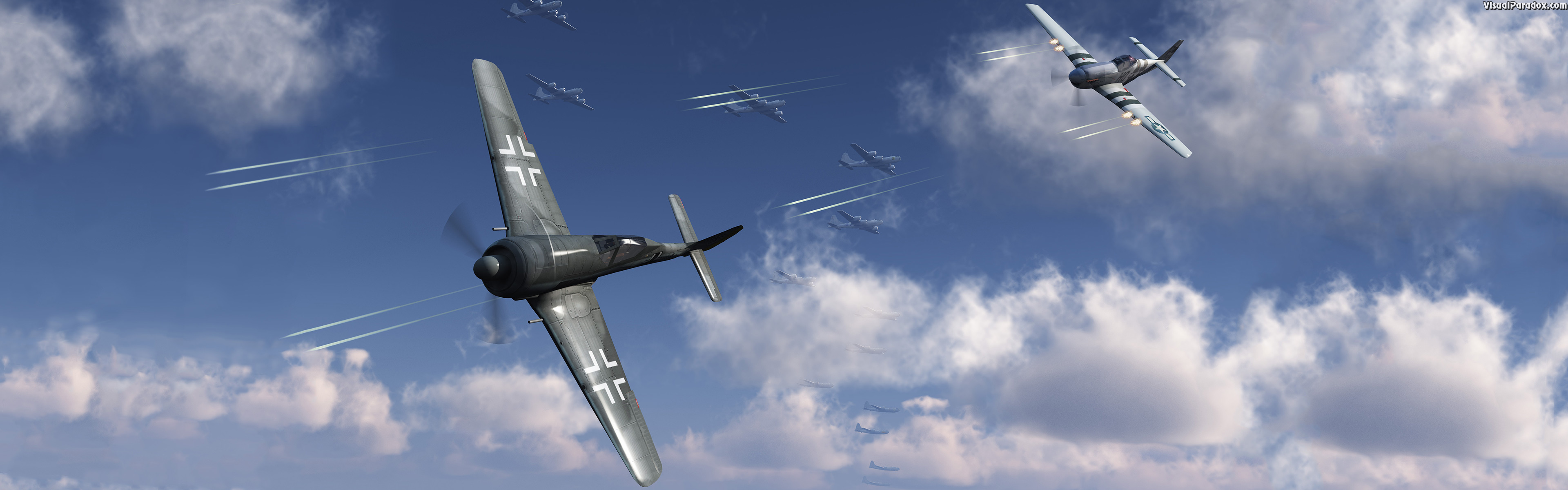 air, plane, fight, aerial, combat, mustang, p51, p51d, fw190a, tracers, shot, shoot, fire, b-29, b29, ww2, wwII, world war 2, 3d, wallpaper