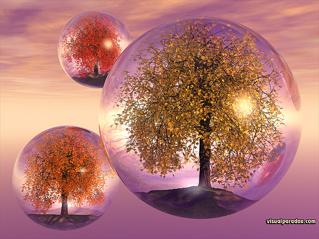 crystals, trees, autumn, fall, float, bubbles, balls, fly, terrarium, colorful, spheres, globes, crystal, sphere, balls, free, 3d, wallpaper