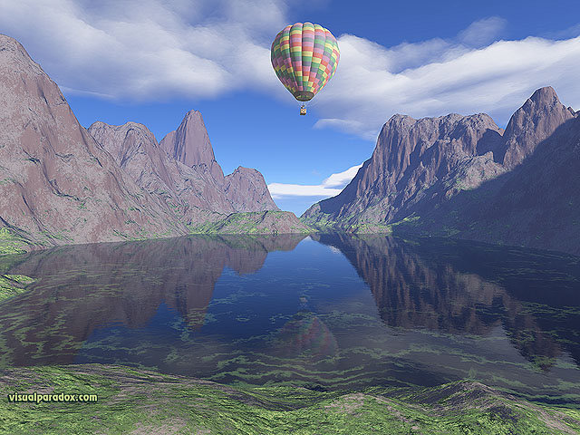 Balloon, mountains, ballooning, hot air balloon, ride, baloon, clouds, lake, reflection, sky, free, 3d, wallpaper