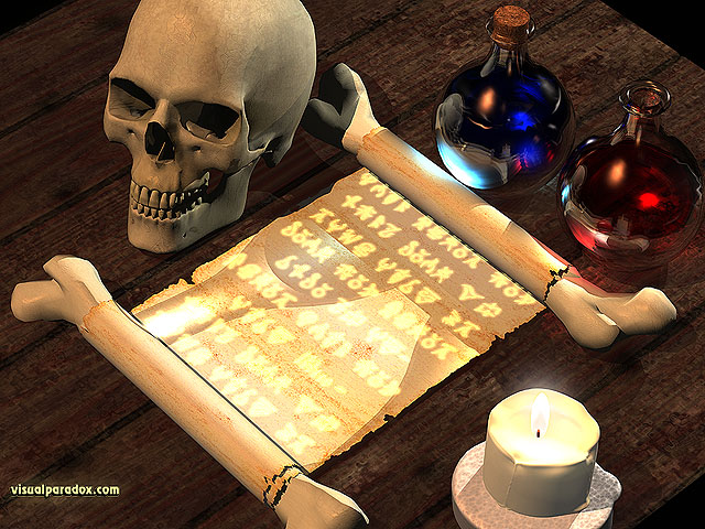 magic, spell, scroll, text, writing, tale, fantasy, skull, potion, spells, potions, alchemist, alchemy, free, 3d, wallpaper