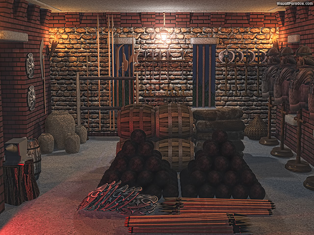 armoury, armory, weapons, ammo, artillery, powder, tower, keep, fort, medieval, armor, stone, room, cannon, balls, arrow, spear, axe, sword, mace, pole-arm, buckler, shield, equipment, kegs, anvil, forge, , free, 3d, wallpaper