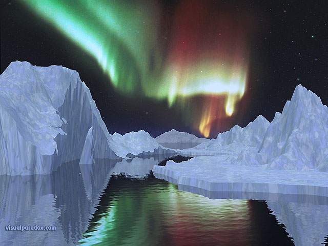 northern, lights, ice, iceburgs, north, pole, borealis, iceburg, snow, corona, free, 3d, wallpaper