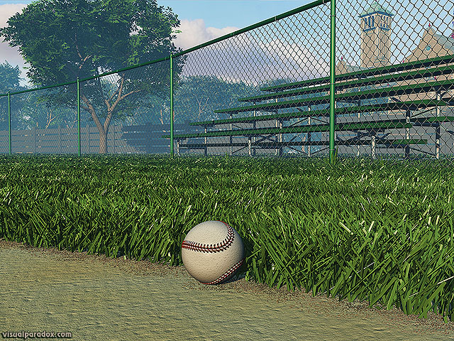 athletics, ball, base, baseball, bleachers, chain, chain-link, chainlink, clouds, diamond, dirt, empty, exercise, fence, field, first, foul, game, green, hardball, health, healthy, hit, infield, park, play, recreation, sandlot, seasonal, sky, sport, sports, stands, summer, sunny, tan, team, trees, white, woods, free, 3d, wallpaper