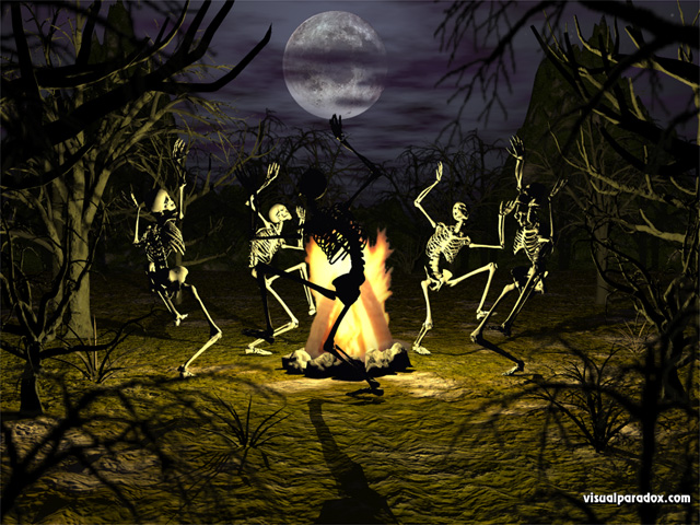dancing, skeletons, campfire, coven, gothic, undead, conjuring, bones, full moon, trees, scary, haunted, halloween, skeleton, free, 3d, wallpaper