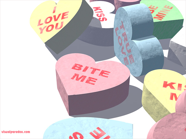 hearts, sweets, gift, message, valentine's day, bite me, insult, joke, holiday, valentines day , free, 3d, wallpaper