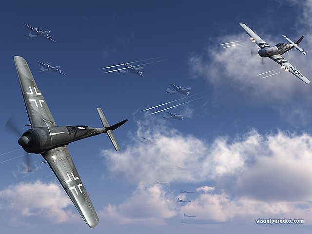 air, plane, fight, aerial, combat, mustang, p51, p51d, fw190a, tracers, shot, shoot, fire, b-29, b29, ww2, wwII, world war 2, free, 3d, wallpaper