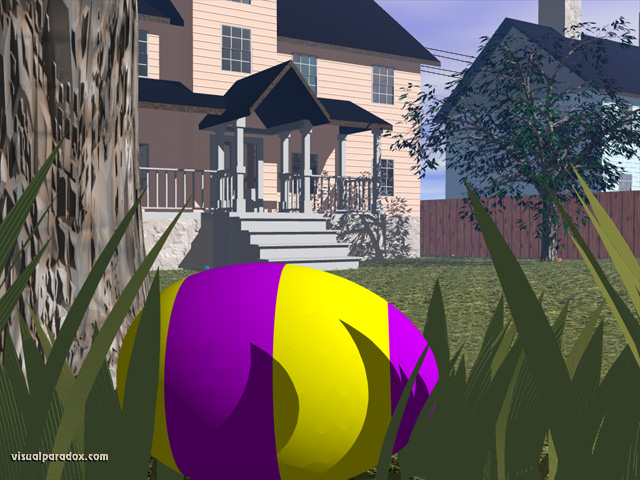 Easter egg hunt, colored, holiday, spring, morning, house, backyard, grass, hidden, find, free, 3d, wallpaper