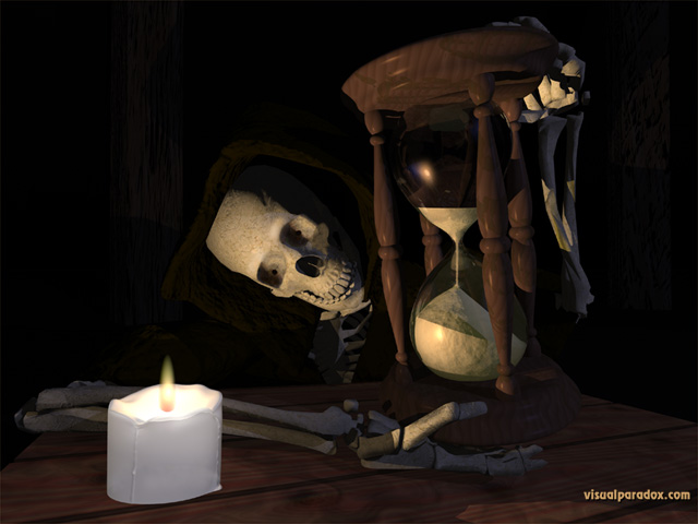 skeleton, hourglass, new years, time, candle, death, doom, minutes, skull, free, 3d, wallpaper
